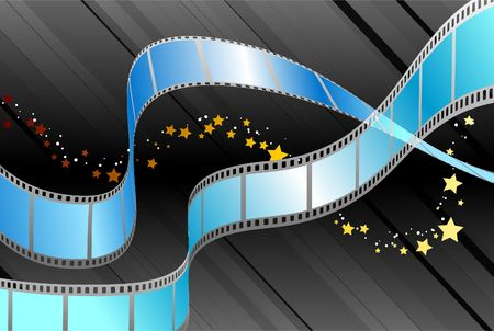 blue backgrounds: Film Reel on Black Background Original Illustration Film Reel Ideal for Film Concept