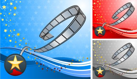 Original  Illustration: film reel with star button set AI8 compatible