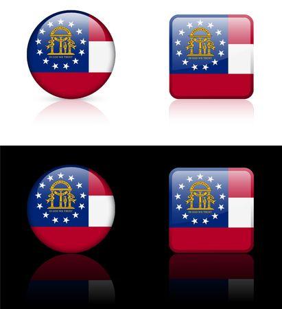 Georgia Flag Icon on Internet Button Original Illustration  illustration