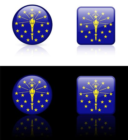 Indiana Flag Icon on Internet Button Original  Illustration  illustration