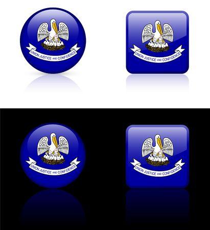 louisiana flag: Louisiana Flag Icon on Internet Button Original  Illustration AI8 Compatible Stock Photo