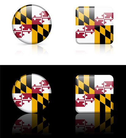 maryland flag: Maryland Flag Icon on Internet Button Original Illustration AI8 Compatible Stock Photo