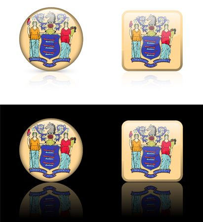 jersey: New Jersey Flag Icon on Internet Button Original  Illustration AI8 Compatible