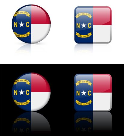 North Carolina Flag Icon on Internet Button Original Illustration  illustration