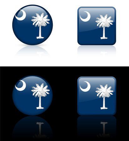 South Carolina Flag Icon on Internet Button Original  Illustration AI8 Compatible