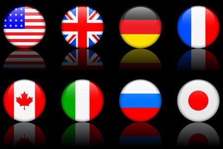 Original  illustration: World flag series G8 countries Reklamní fotografie