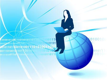Original  Illustration: businesswoman Riding the Internet AI8 compatible  illustration