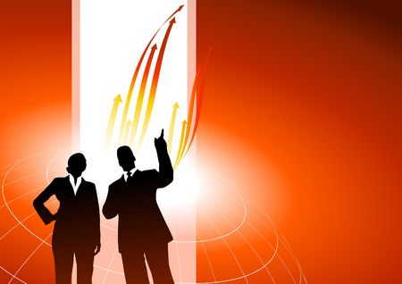 Original  Illustration: Business executives or red internet background with arrows AI8 compatible illustration