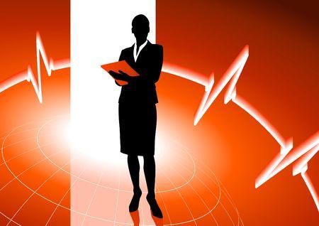 Originele Illustratie: zaken vrouw op rode achtergrond AI8 compatibel is met internet