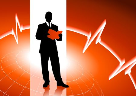 Original  Illustration: Businessman on red internet background AI8 compatible
