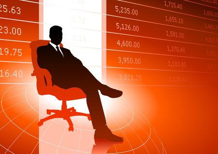 Original  Illustration: Business executive background with stock market data AI8 compatible Stock Illustration - 6603653