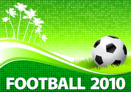 digitally generated image: 2010 Soccer Ball om Tropical Green Background Original  Illustration