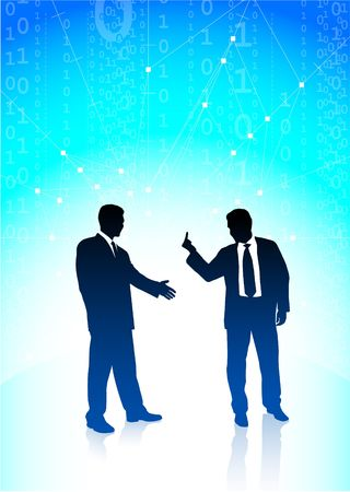 one finger: Original  Illustration: Business man showing a middle finger to another AI8 compatible