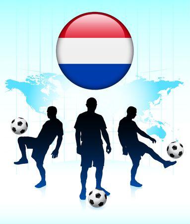 Nederlandse vlag pictogram op Internet knoop met voet bal team originele illustratie