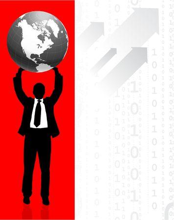 Businessman holding Globe with Binary Code Background Original Illustration Businessmen Concept Stock Illustration - 6600051