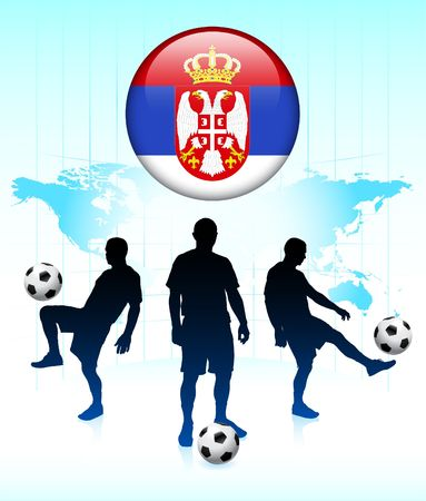 Serbia Flag Icon on Internet Button with Soccer Team Original Illustration