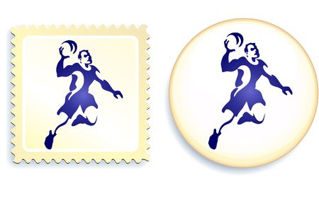 Dodgeball Stamp and Button Original  Illustration illustration