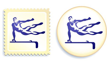 Gymnast Stamp and Button Original  Illustration