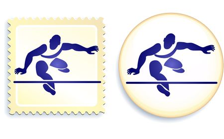 Runner Stamp and Button Original  Illustration illustration
