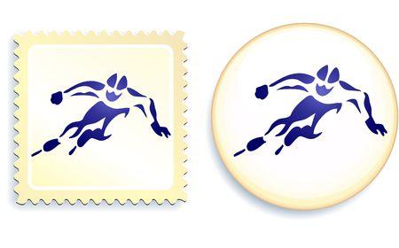 Speed Skater Stamp and Button Original Illustration