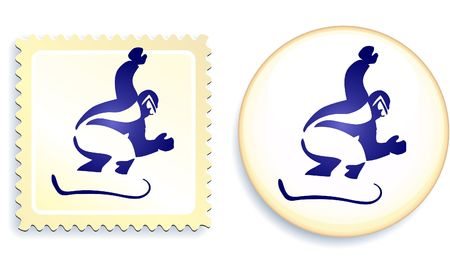 Snowboarding Stamp and Button Original  Illustration illustration