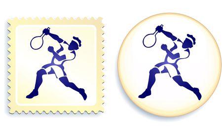raquet: Tennis Stamp and Button Original Illustration Stock Photo