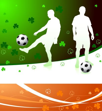 Irish Soccer Players Original  Illustration Stock Illustration - 6604672
