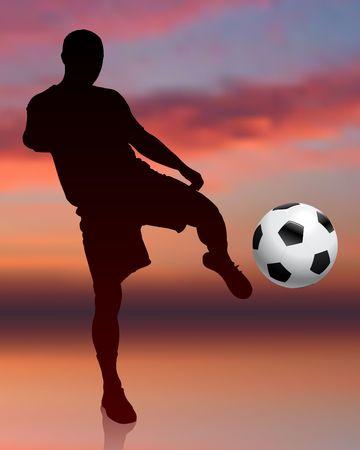 Soccer Player on Evening Background Original  Illustration illustration