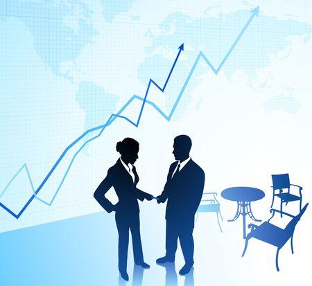 compatible: Original Illustration: businessman and businesswoman AI8 compatible Stock Photo