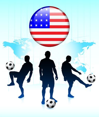 United States Flag Icon on Internet Button with Soccer Team Original  Illustration illustration