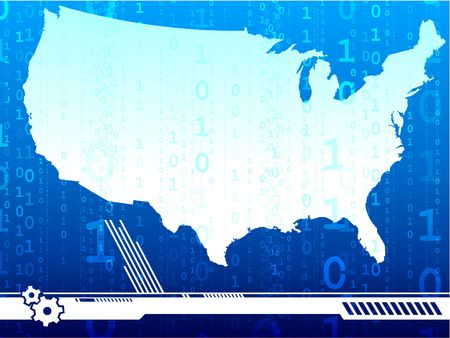 Original  Illustration: USA map in blue AI8 compatible Stock Illustration - 6603734