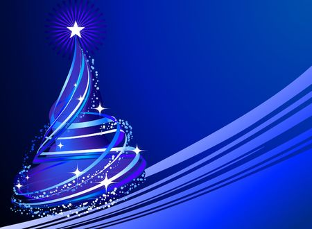 bright: Christmas Tree on Abstract Background Original  Illustration Holiday Background
