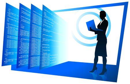 Original  Illustration: Sexy web developer wireless internet communication background