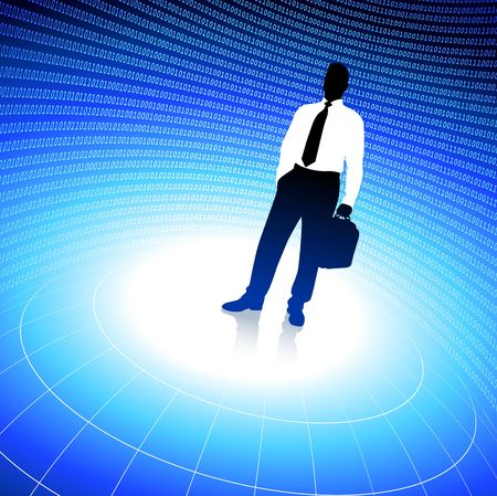 business traveler: Original  Illustration: Business traveler background with binary code AI8 compatible Stock Photo