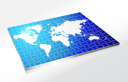 wold map: Complete Puzzle of World Map Original Illustration Complete Puzzle Ideal for Business Concept