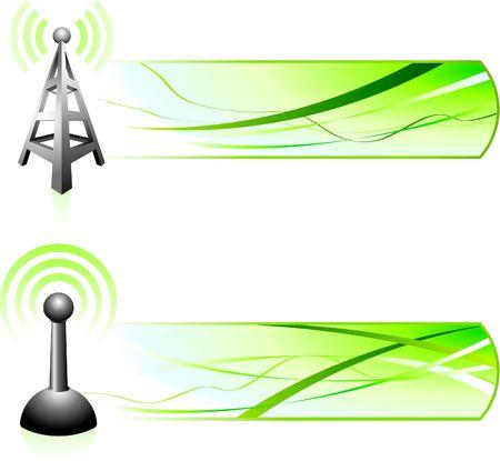 Communicatie signaal met banners Originele illustratie banners
