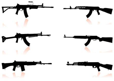 Automatic Gun Set Original  Illustration Weapons Ideal for War Concept