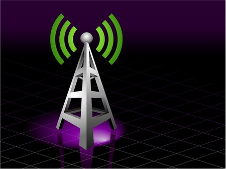 communication: Radio Tower Sending out Signal Original  Illustration Radio Tower Ideal for Communication Concept