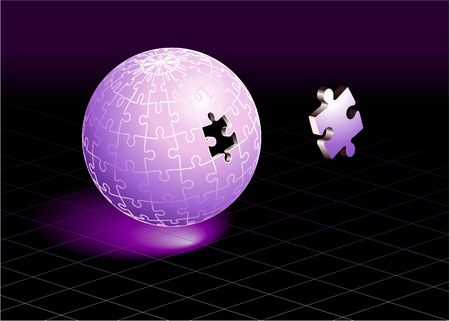 sphere: Missing Puzzle Piece on Purple Globe Original  Illustration Incomplete Globe Puzzle Ideal for Unity Concept