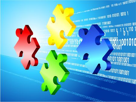Incomplete Puzzle with Binary Code Background Original  Illustration Incomplete Puzzle Ideal for Business Concept