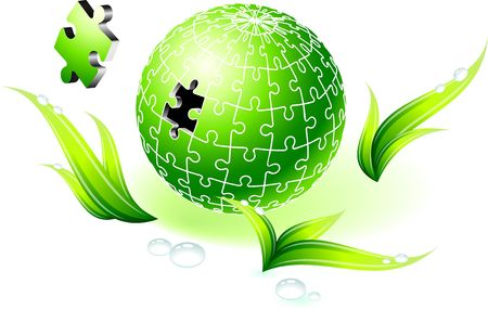 Incomplete Natural Green Globe Puzzle Original  Illustration Incomplete Globe Puzzle Ideal for Unity Concept
