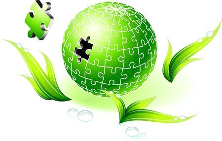 Onvolledige natuurlijke groene Globe puzzel originele Illustratie onvolledig Globe puzzel ideaal voor eenheid Concept Stockfoto