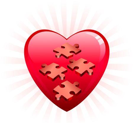 不完全な心パズル オリジナル イラスト不完全なパズルに最適なバレンタインデーのコンセプト