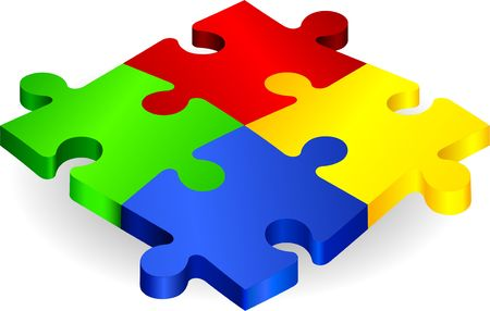 Complete Puzzle on simple Background Original  Illustration Complete Puzzle illustration