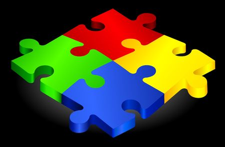 Complete Puzzle on simple Background Original Illustration Complete Puzzle Stock fotó