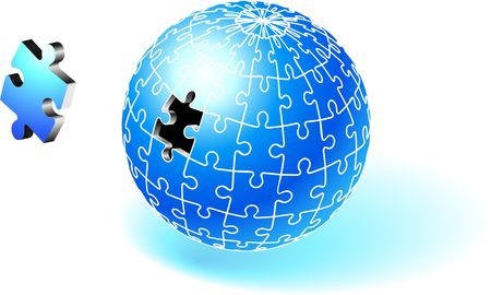 incomplete: Incomplete Blue Globe Puzzle Original  Illustration Incomplete Globe Puzzle Ideal for Unity Concept