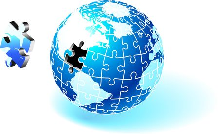Incomplete Puzzle Planet Original  Illustration Incomplete Globe Puzzle Ideal for Unity Concept Stock Illustration - 6604841