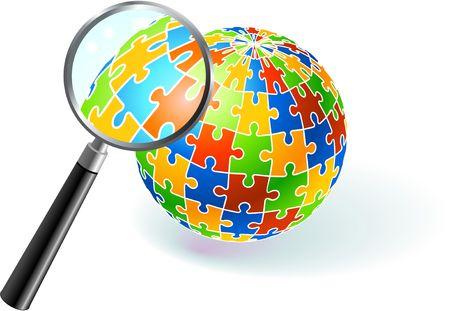 Multi Colored Globe Under Magnifying Glass Original  Illustration Multi Colored Globe Puzzle Banco de Imagens