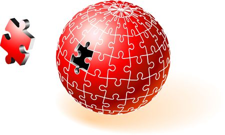 incomplete: Incomplete Red Globe Puzzle Original  Illustration Incomplete Globe Puzzle Ideal for Unity Concept