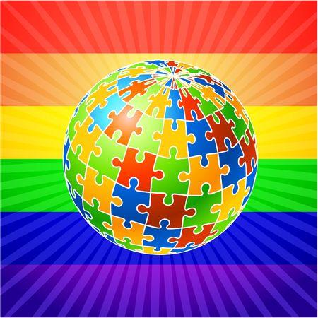 globe puzzle: Globe Puzzle  Original  Illustration Multi Colored Globe Puzzle  Concept